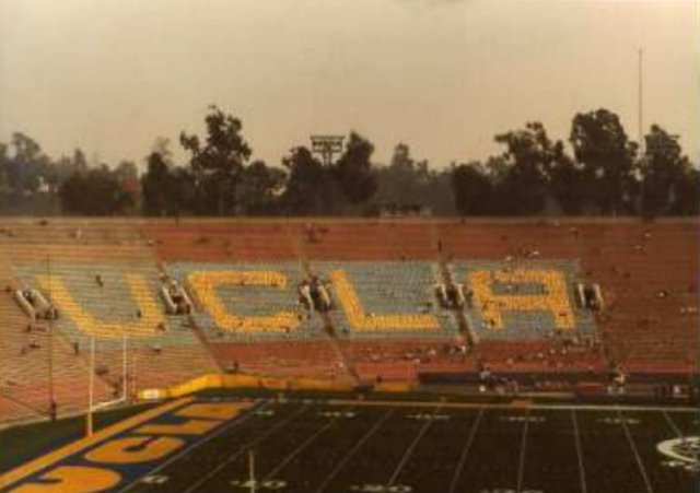 My pic of UCLA card section at Rose Bowl, Jan. 1, 1986