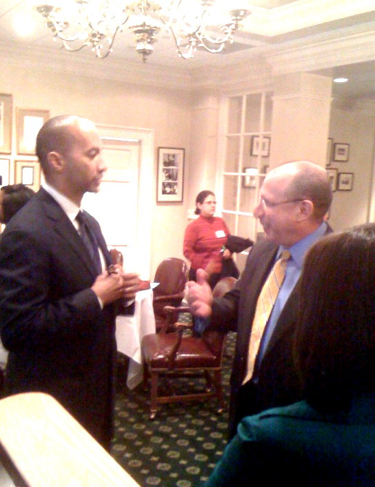 """60 Minutes"" correspondent Byron Pitts, left, speaks with Steve Schwaid of CBS Atlanta"