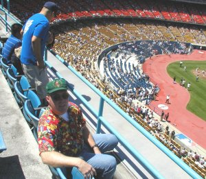 I'm looking on in Dodger Stadium. (Credit: Steve Burns.)