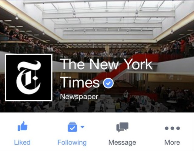Screenshot of NY Times Facebook page.